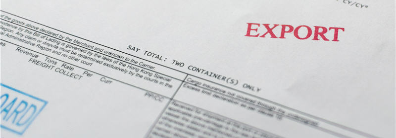 Export stamped on a bill of lading for container transport (photo)