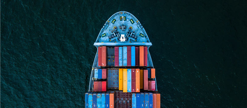 Container ship carrying container for import and export, business logistic and transportation by ship in open sea, Aerial view container ship (picture)